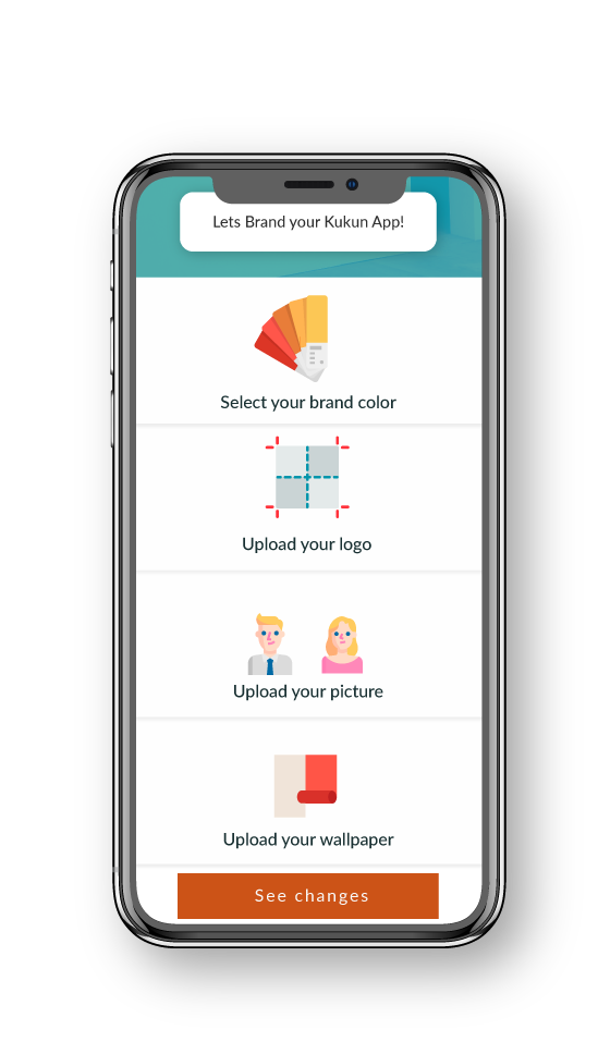 Branding app interface