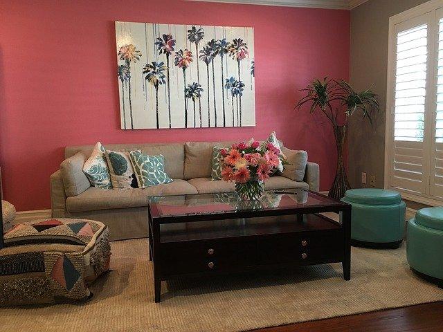 pink living room