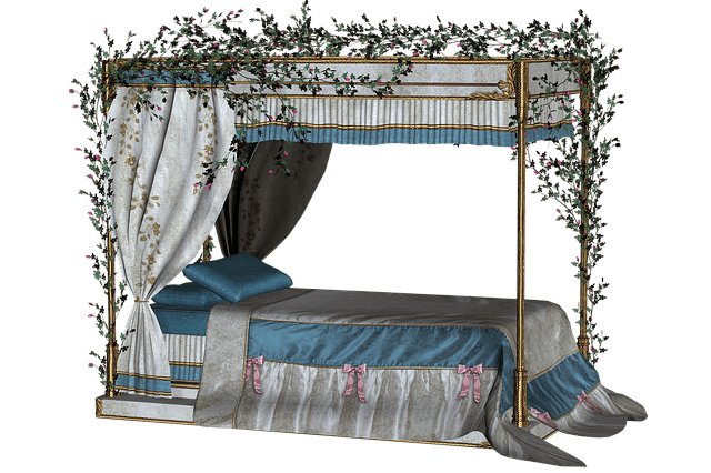 Bed and flowers