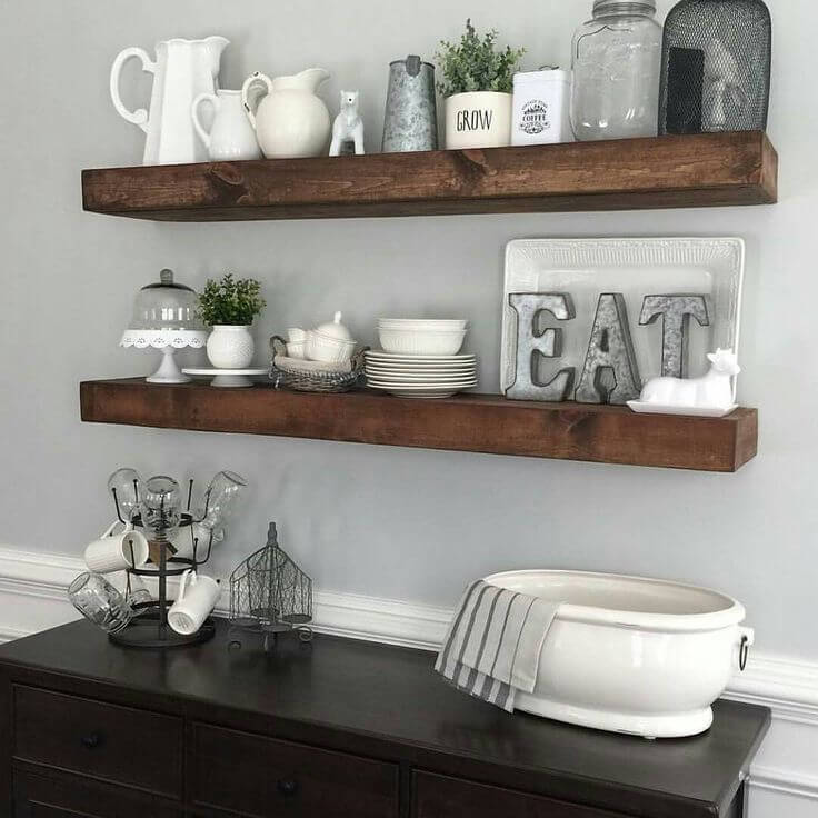 floating shelves for decorative cutlery