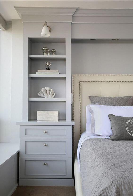 built-in storage in bedroom
