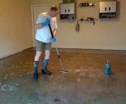 Etch the garage surface