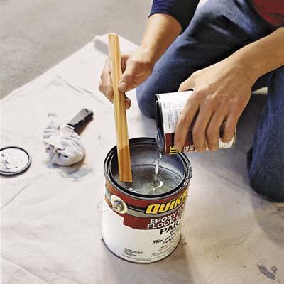 mixing epoxy paint