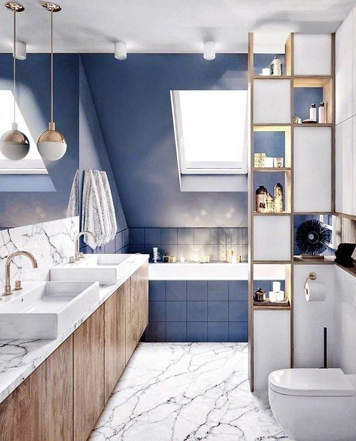 Modern bathroom with skylight