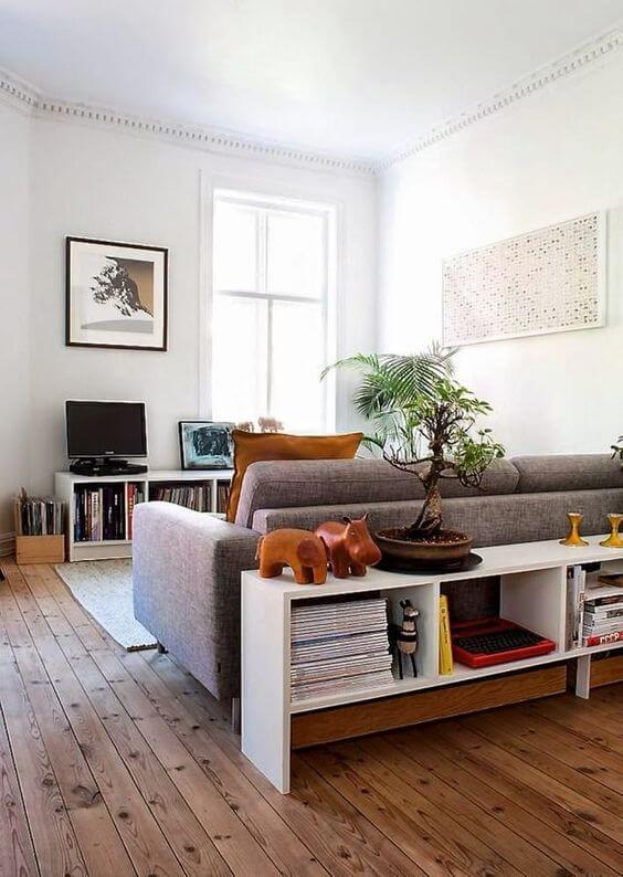 storage table behing sofa