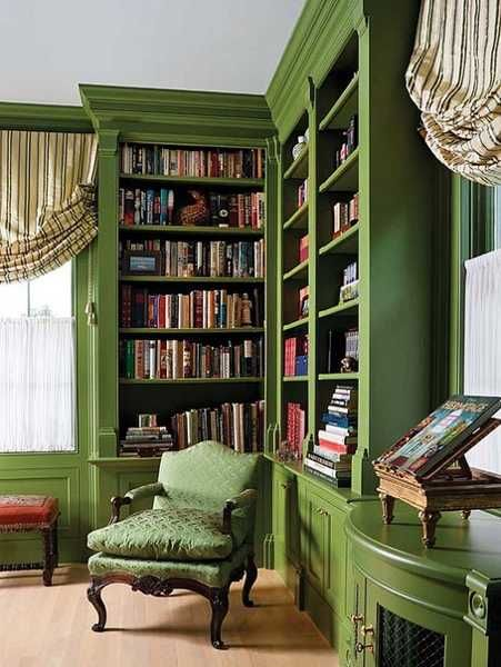 hunter green home library