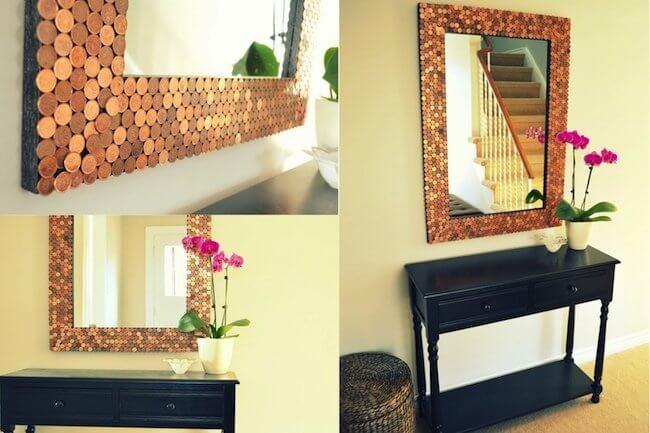 mirror artwork in hallway