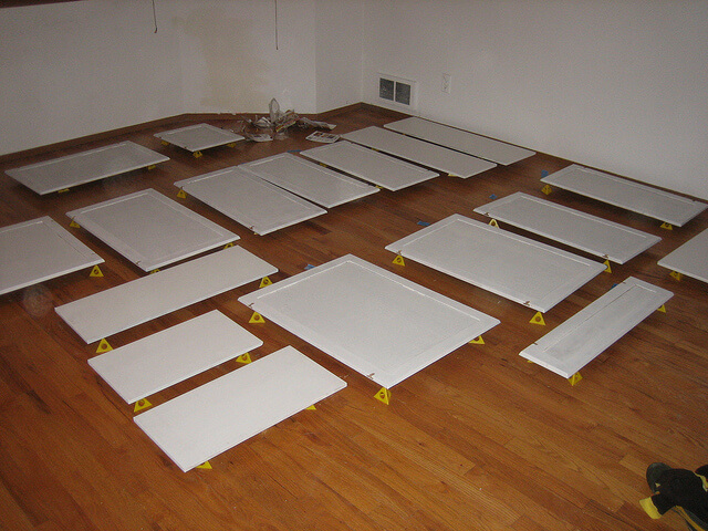 drying the doors and drawer fronts