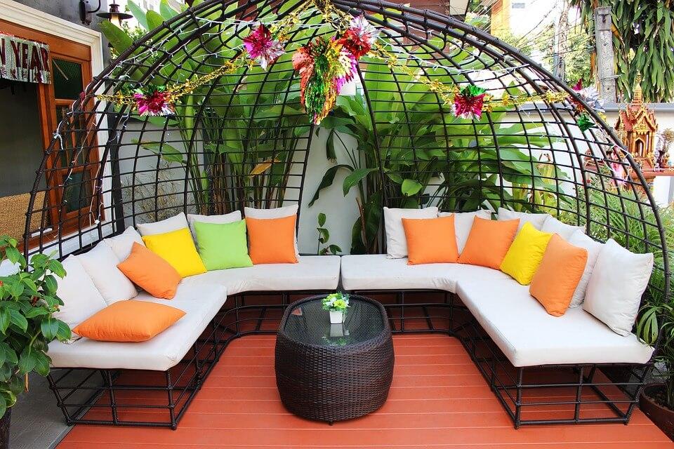cozy backyard sofa