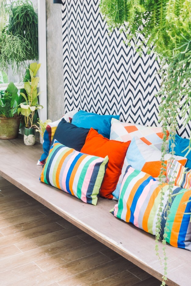 colorful floor pillows