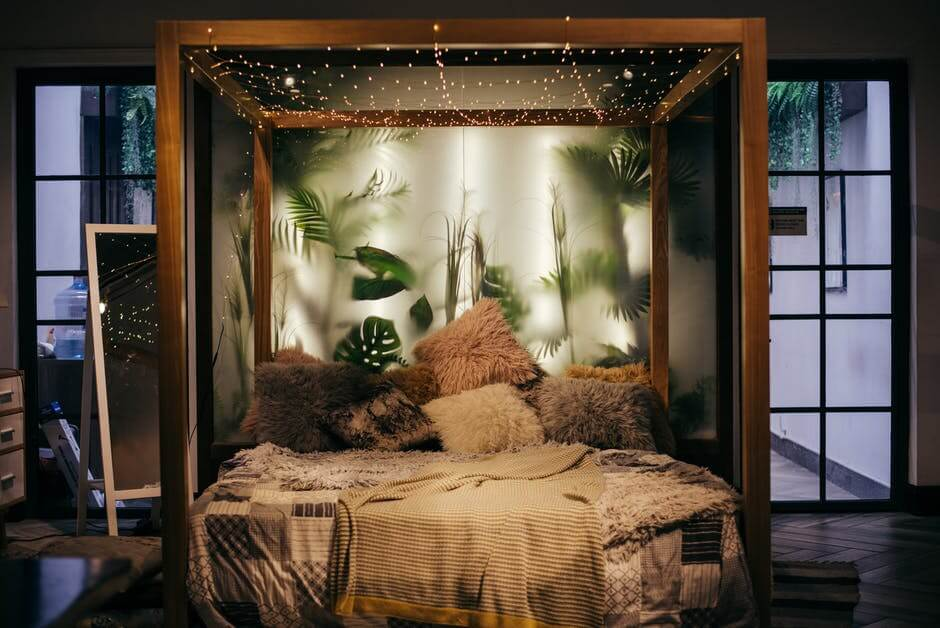 bohemian bed frame with string lights