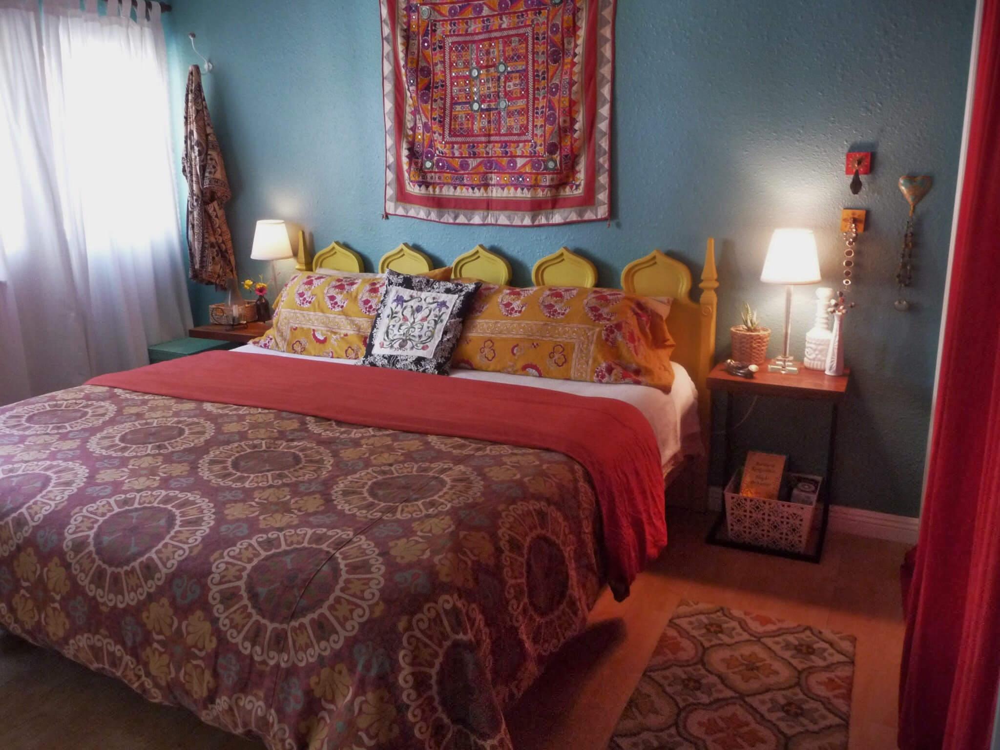 bohemian bed with mandala printed sheets