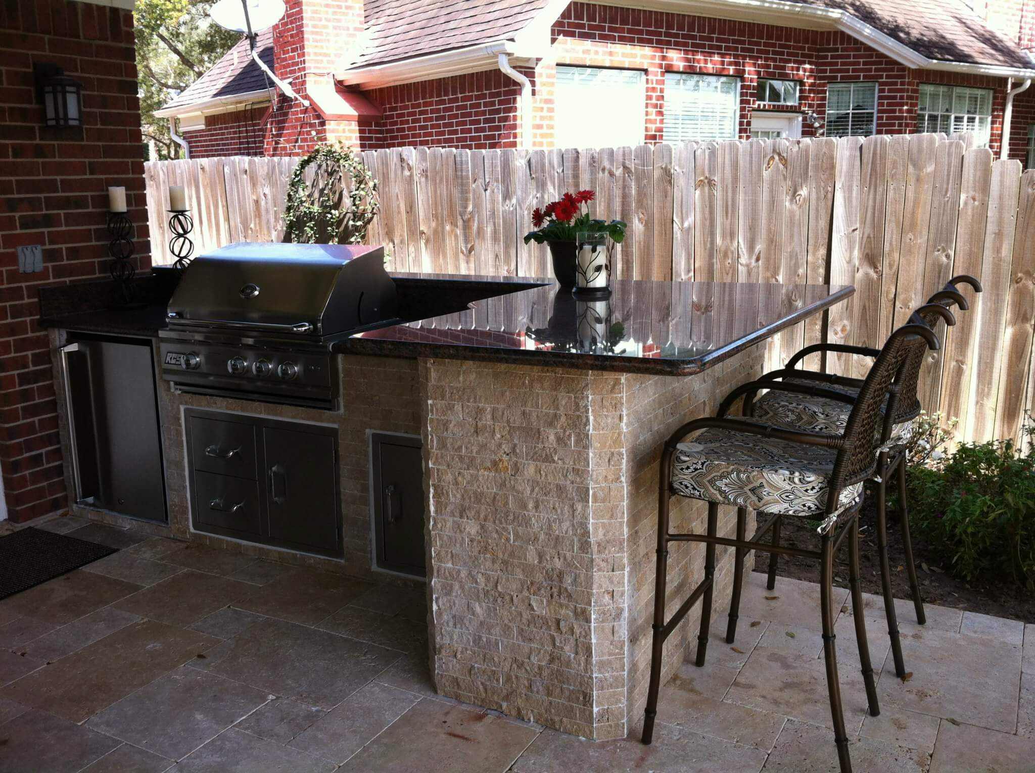 outdoor kitchen with low-maintenance countertop