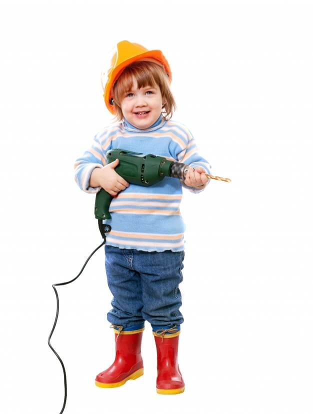 child with construction tool