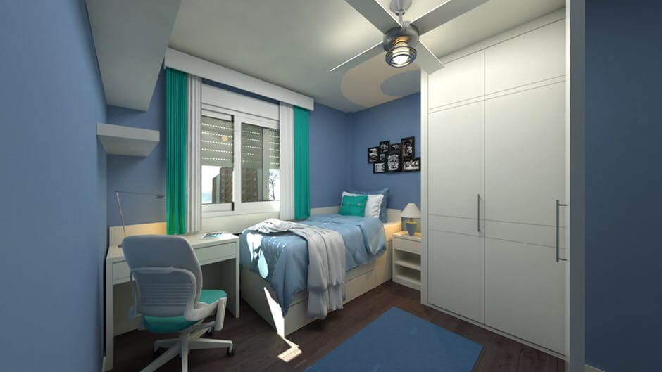 powder blue color bedroom