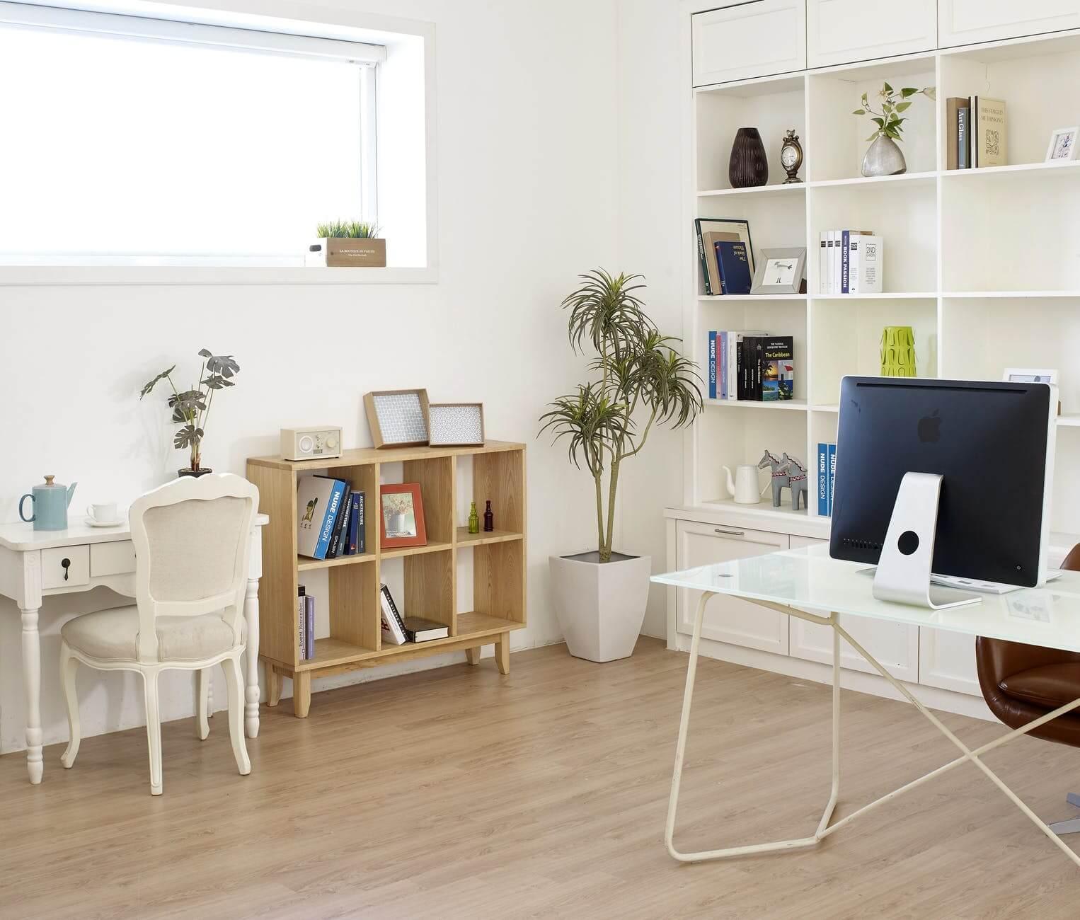 loft office built-in storage