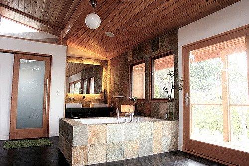 bathtub stone wall