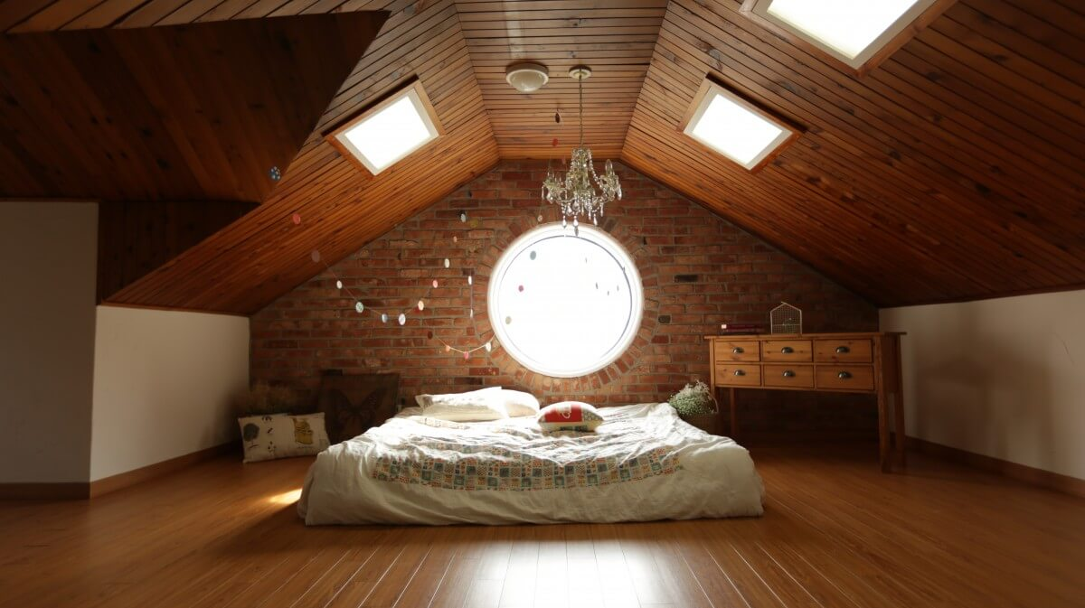 attic makeshift bedroom