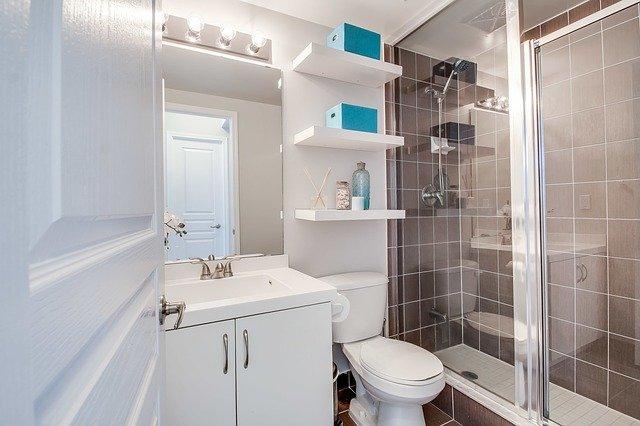 stacked bathroom shelves