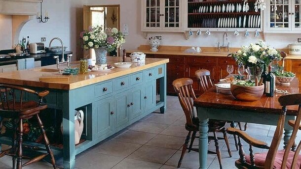 open shelving kitchen island