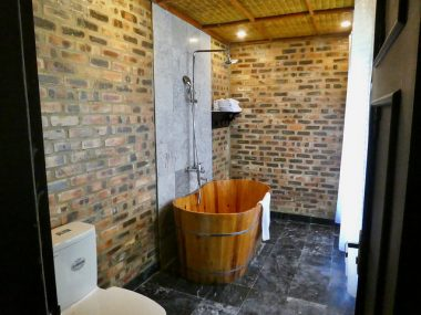 Bathroom wall decor with bricks