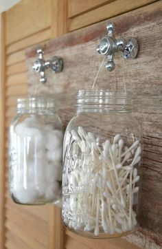 DIY containers for bathroom wall decor