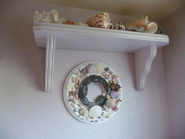 seashell themed bathroom