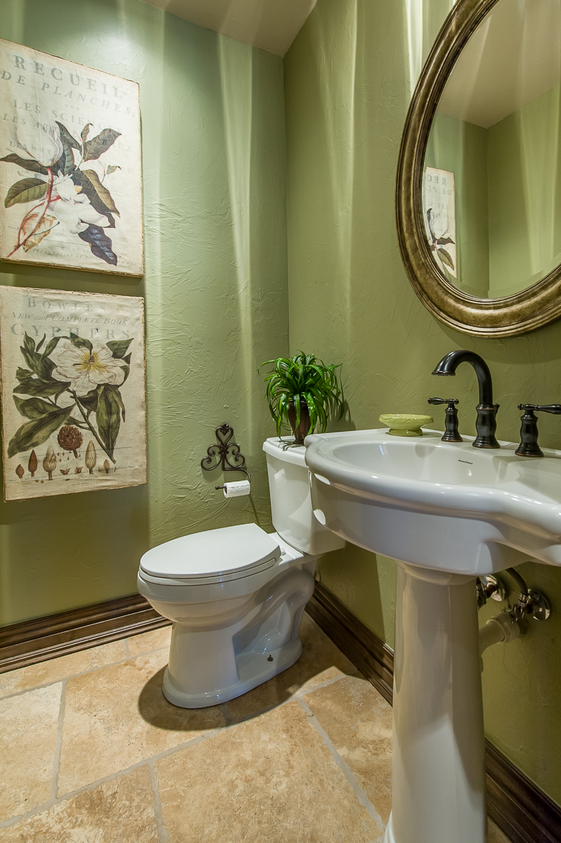 green small half bathroom