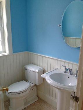 blue small half kitchen
