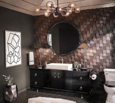 textured small half bathroom