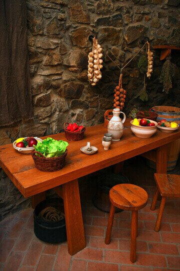 stone wall french kitchen