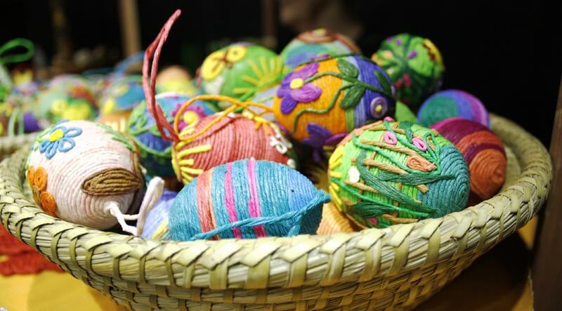 Wicker Easter eggs