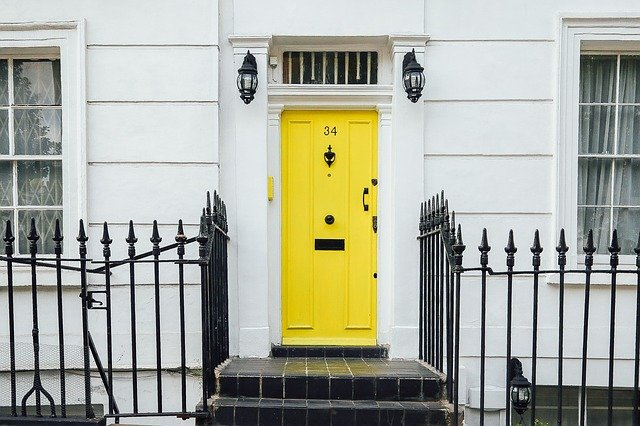 Bright, bold colored door