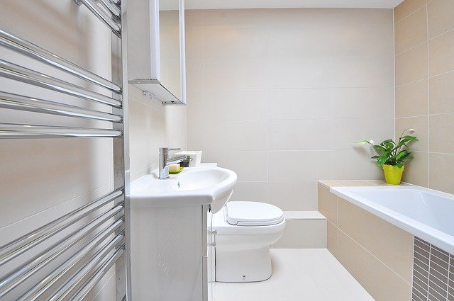 Steel towel rack in bathroom