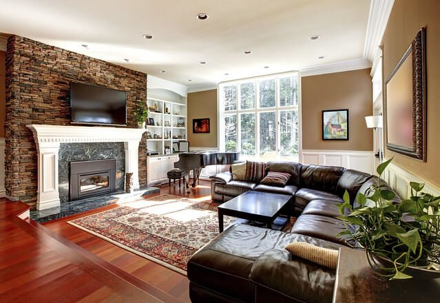 Brown living room walls