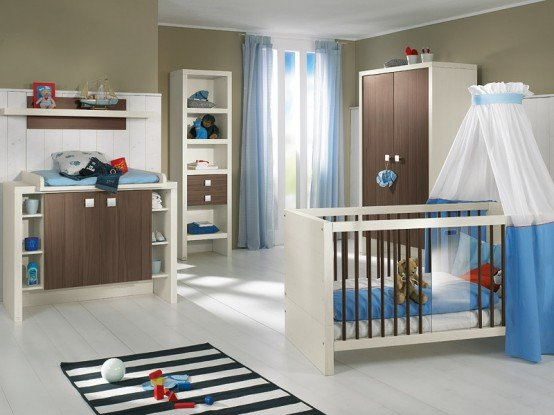 brown and blue nursery
