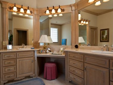 Wooden bathroom vanity cabinetry