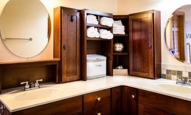 Wood bathroom cabinet
