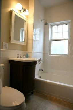 Recessed bathroom cabinet