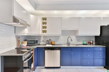 white and blue cabinets