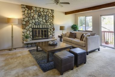 Stone fireplace decor idea