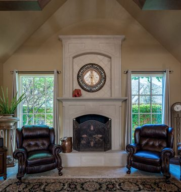 Cast stone fireplace