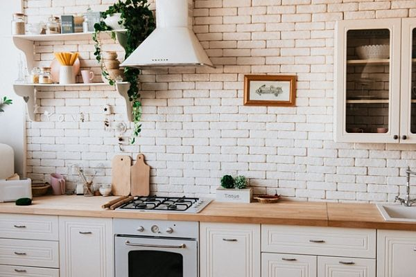 wooden countertop kitchen