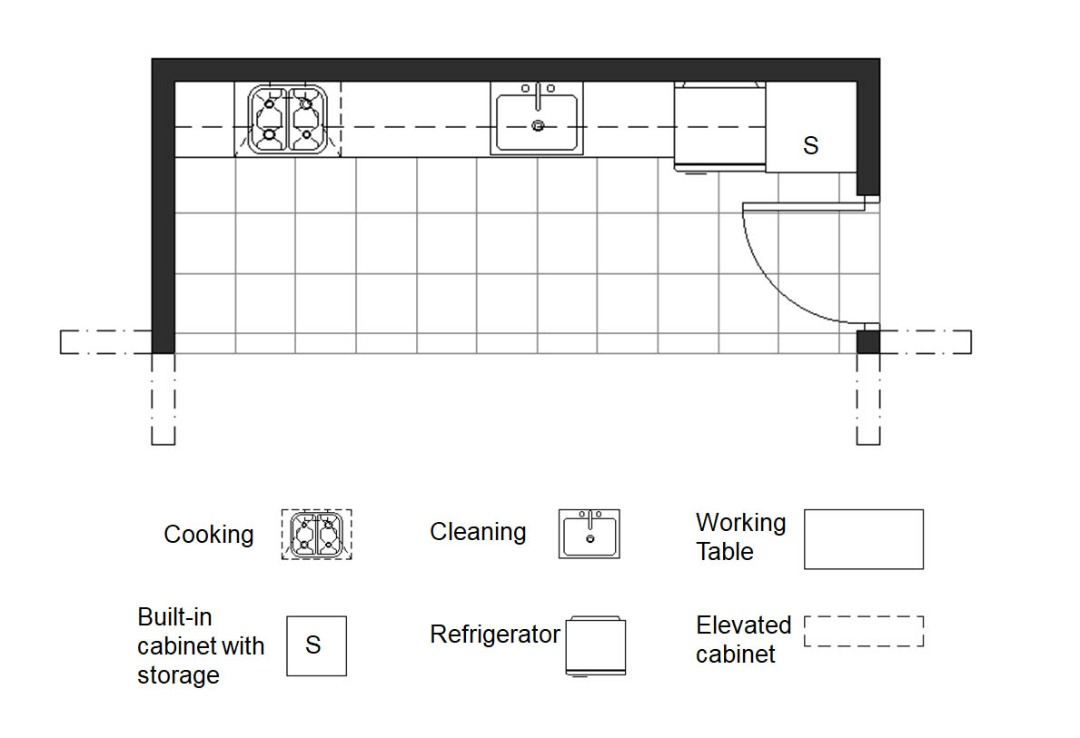 One wall kitchen plan 1
