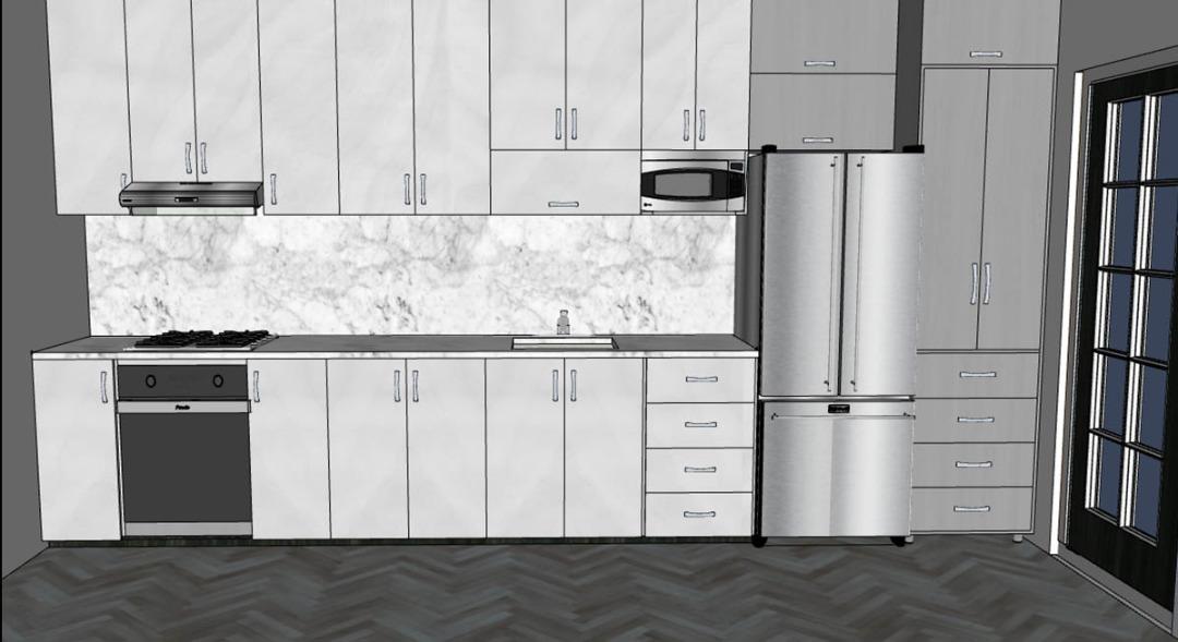 3d one wall kitchen design