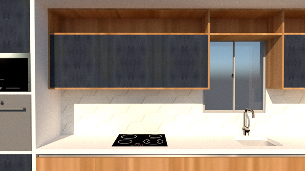 One wall kitchen detail