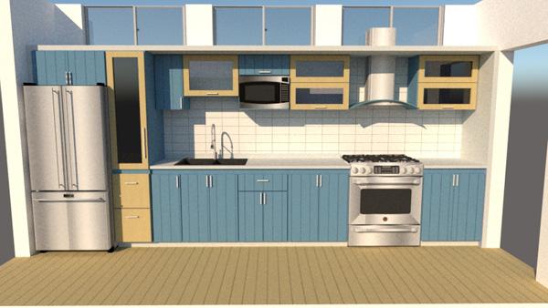 Blue one wall kitchen design