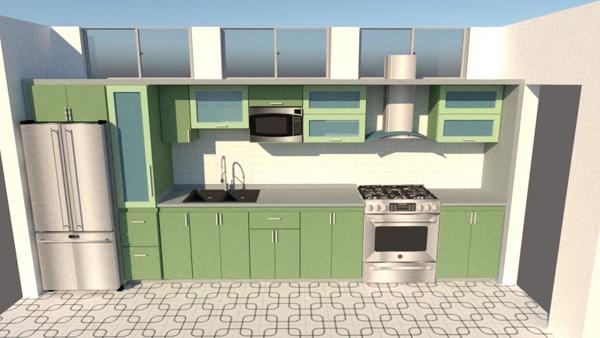 Green one wall kitchen design