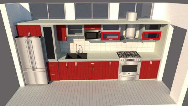 Red one wall kitchen design