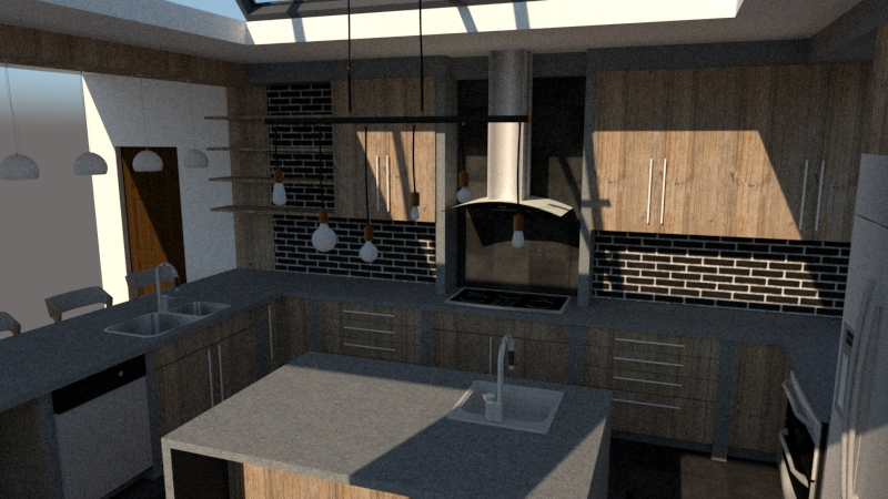 3d U shaped kitchen design